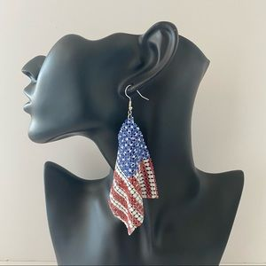 Flowy Mesh American Flag Earrings